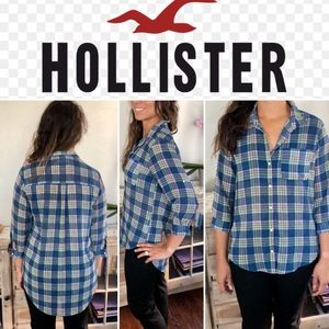 Rare Hollister Plaid Button Down Blouse